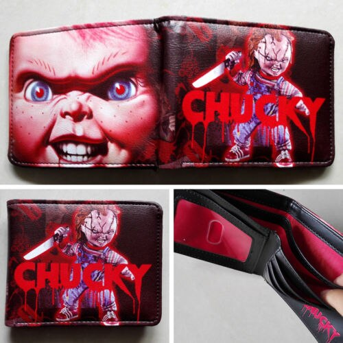 2018 Movie Child\'s Play Chucky Logo wallets Purse Red 12cm.