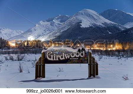 Stock Photography of Welcome to Girdwood Alaska sign and the.