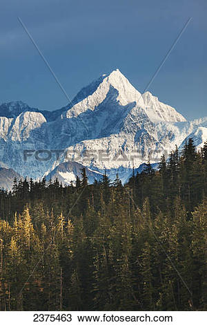 Stock Photo of Morning scenic of Mount Gilbert, Chugach mountains.