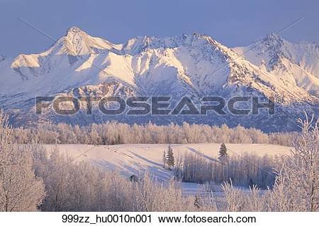 Stock Photography of Winter scenic of Byers Peak and Matanuska.