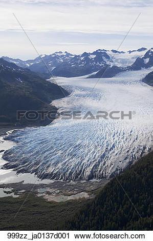 Stock Photography of Aerial over Bainbridge glacier and Chugach.