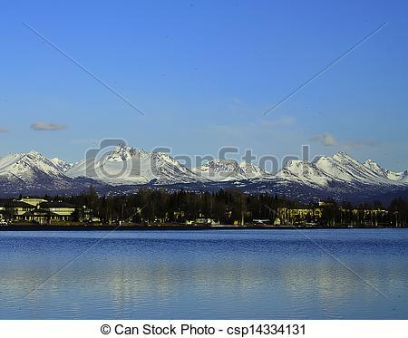 Stock Photos of Chugach mountain range Alaska.