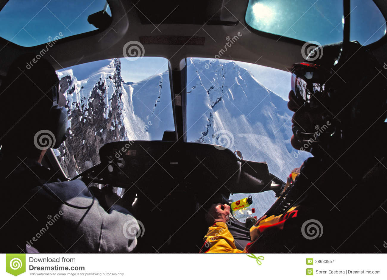 Helicopter Cockpit View Of The Chugach Mountains Of Alaska.