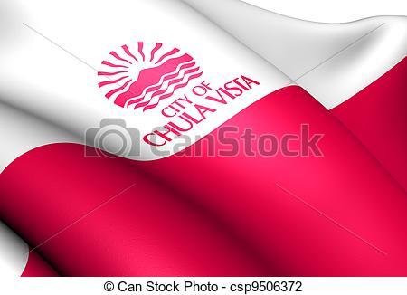 Clip Art of Flag of Chula Vista, USA Close Up csp9506372.