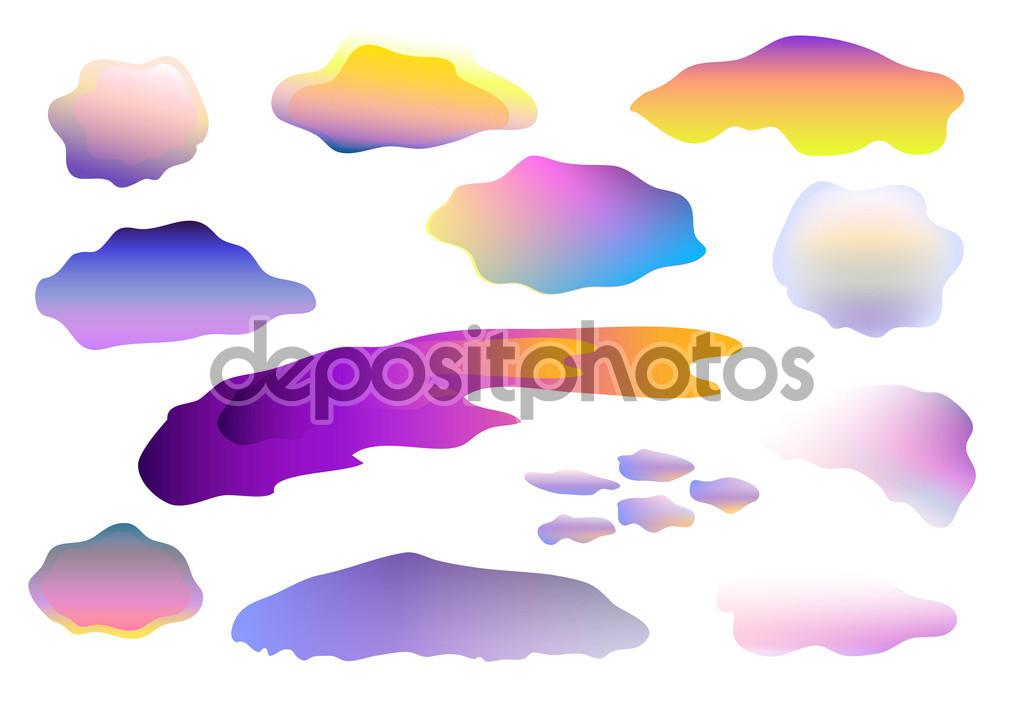 Kolorowe chmury wektor clipart na białym tle — Grafika wektorowa.