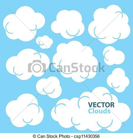 Cliparty Wektorowe chmury, rysunek.