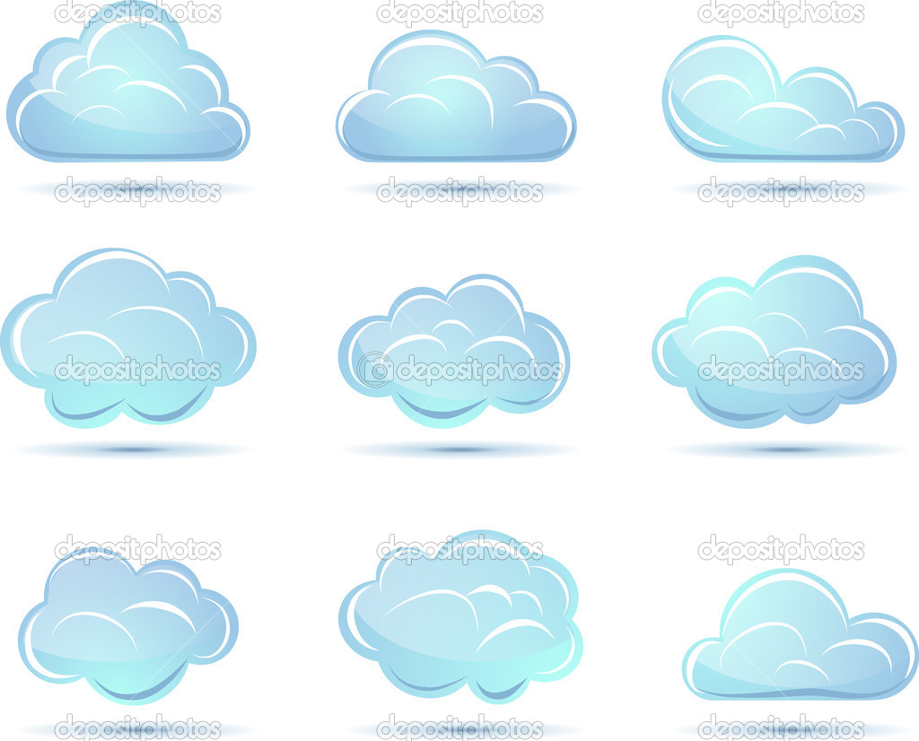 Wektor zbiory chmury. ikony pogody — Grafika wektorowa.