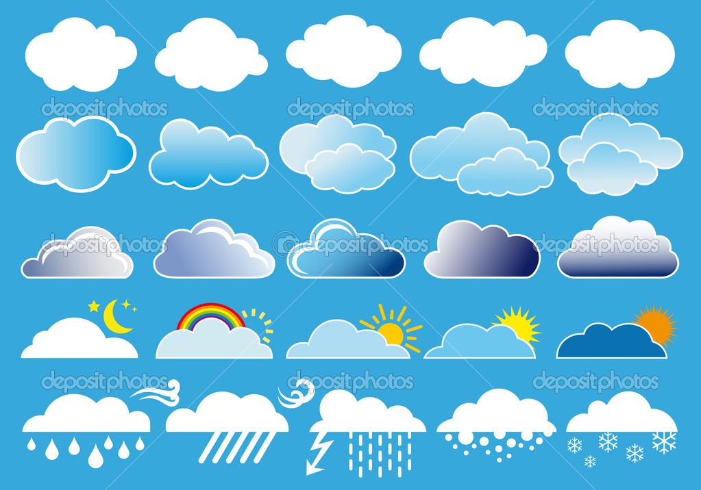 Chmury i symbole pogody, wektor — Grafika wektorowa © beaubelle.