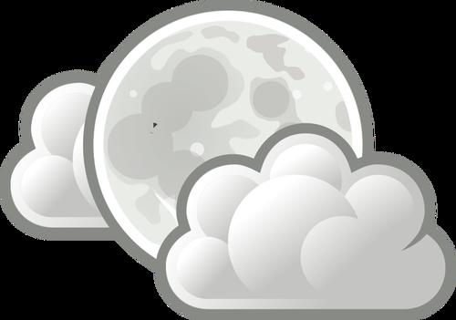 Prognoza pogody ikona kolor światła chmury w nocy wektor clipart.