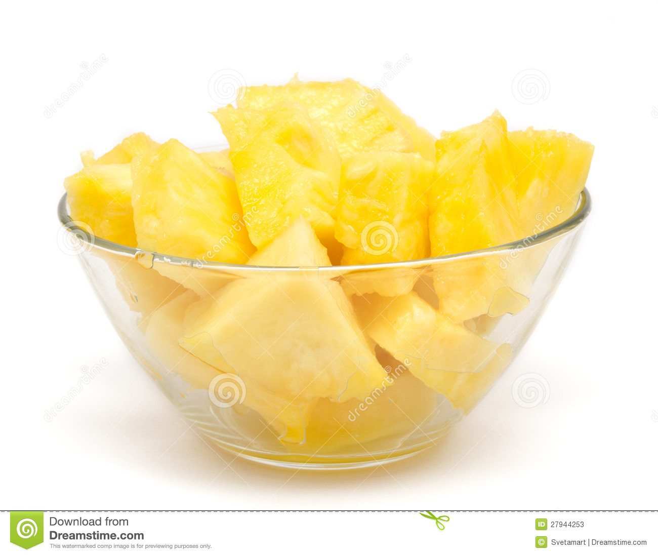 Pineapple Chunks In The Bowl Isolated Stock Photos.