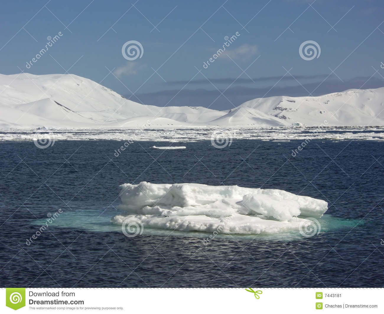 View Of A Small Iceberg Or Chunk Of Floating Ice With Frozen.