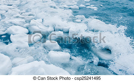 Stock Photographs of Floating Ice Chunks.