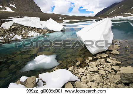Stock Photography of Scenic view of meltwater and snow chunks at.