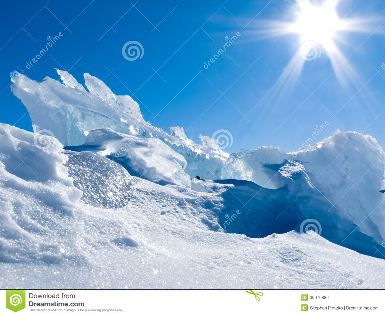 Chunks Of Snow And Ice Walked On Royalty Free Stock Images.