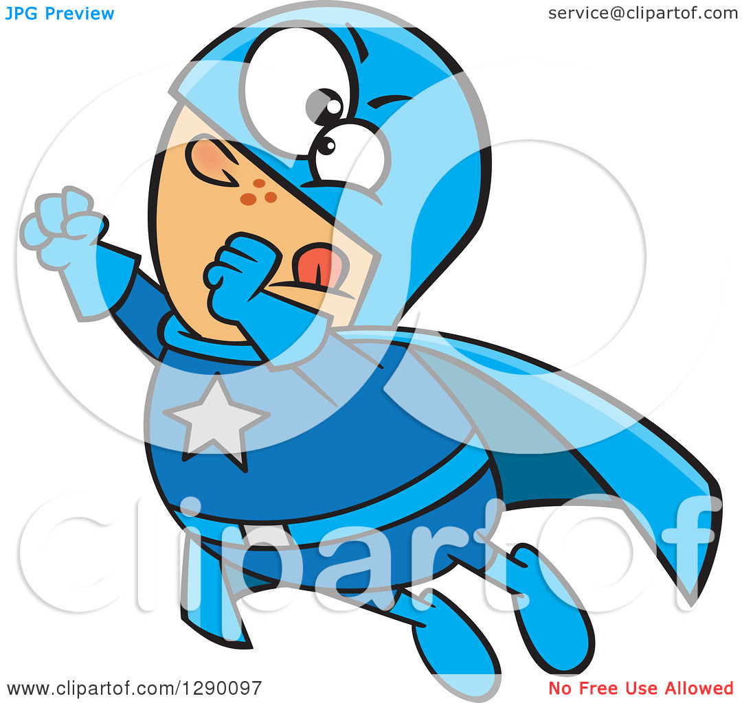 Cartoon Clipart of a Chunky Caucasian Male Super Hero Flying.