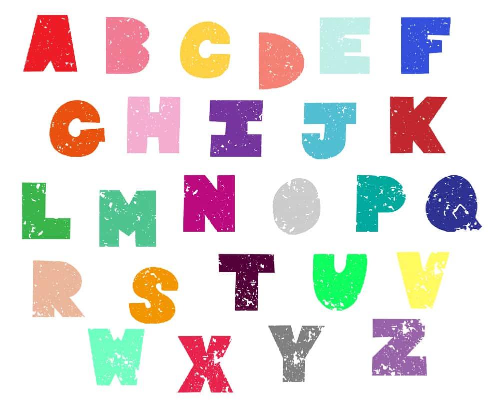 Free Distressed, Chunky Uppercase Alphabet.