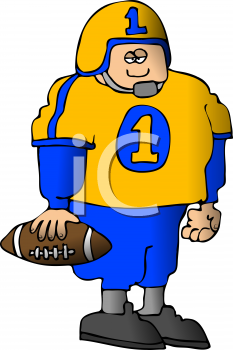 Cartoon of a Chunky Football Player Wearing His Jersey.