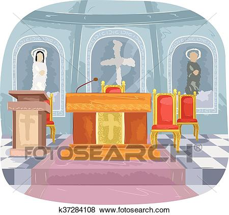 Catholic Church Altar Interior Clip Art.