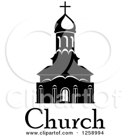 Clipart of a Black and White Church with Text.