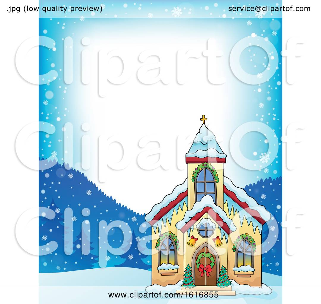 Clipart of a Christmas Church Border.