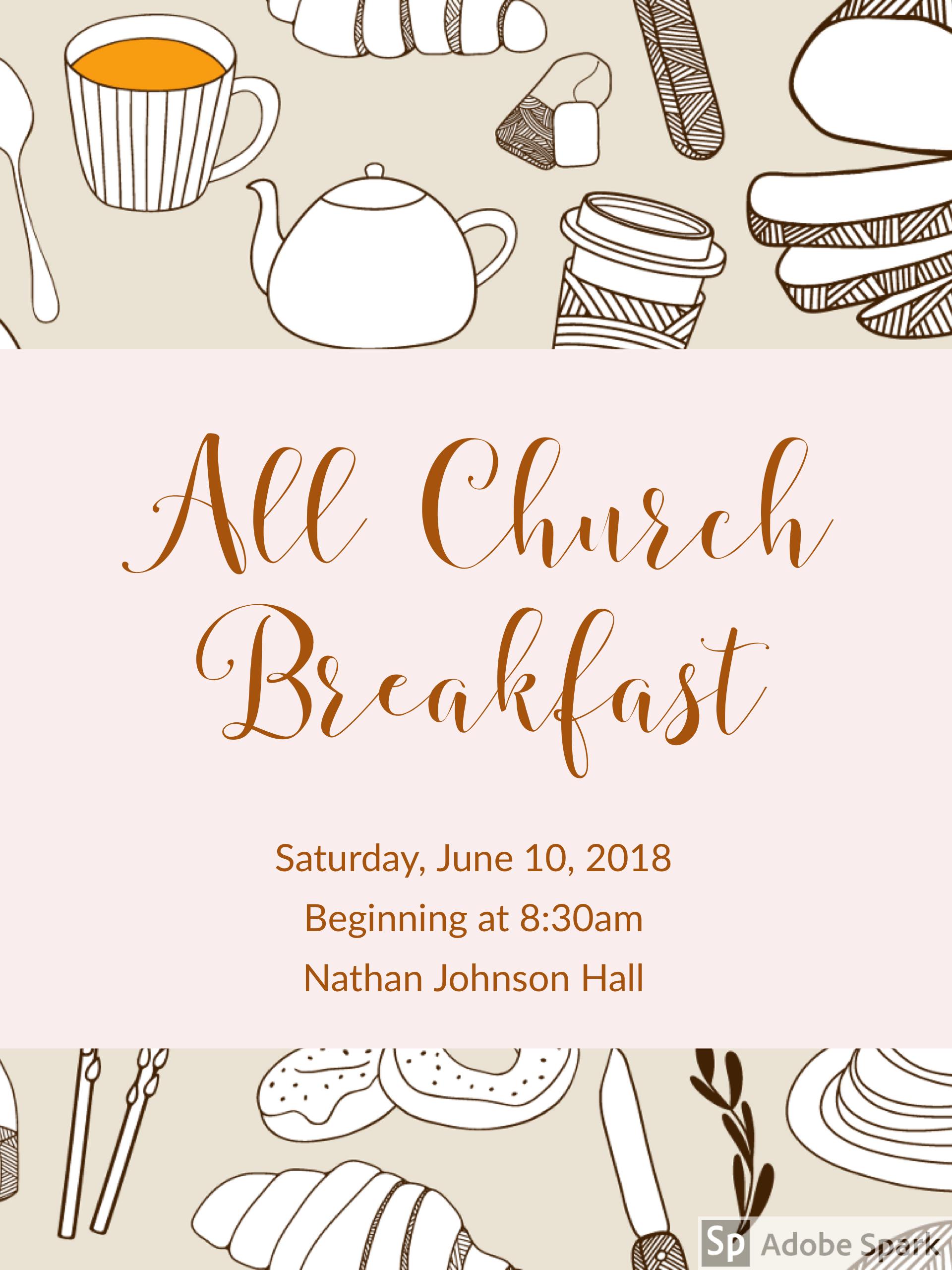 All Church Breakfast June 10.