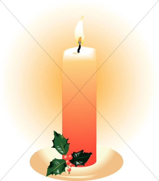 Orange Candle with Holly.