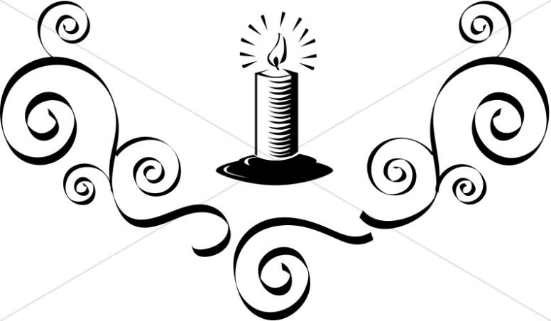 Lit Candle with Flourish.