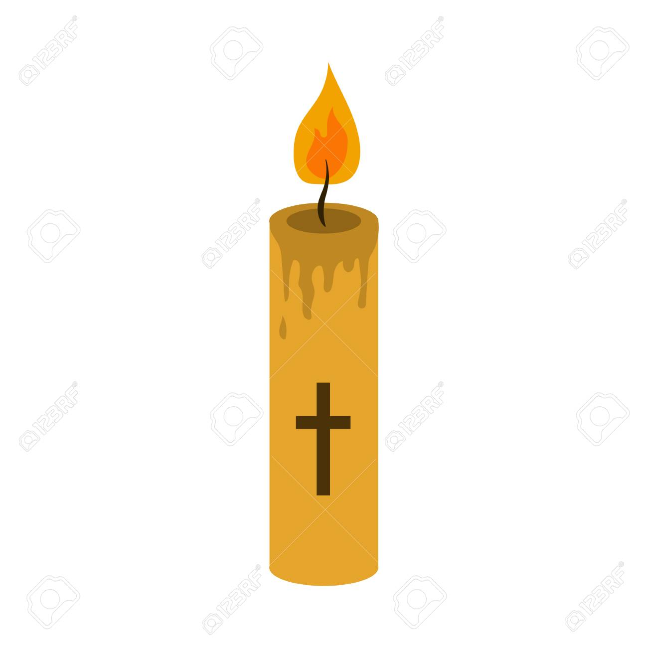 church candle flat icon.