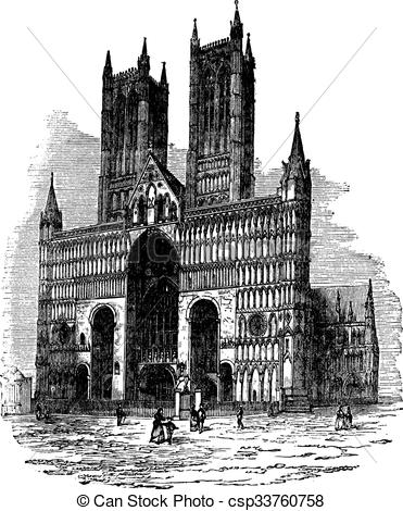 Clipart Vector of Lincoln Cathedral or The Cathedral Church of the.