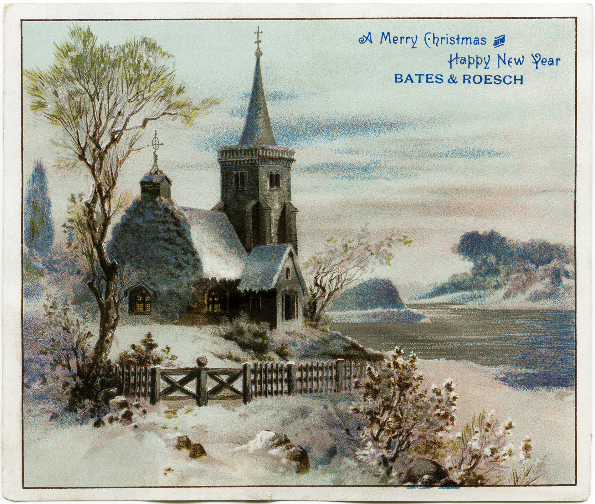 Country Church Scene~ Free Christmas Graphic.