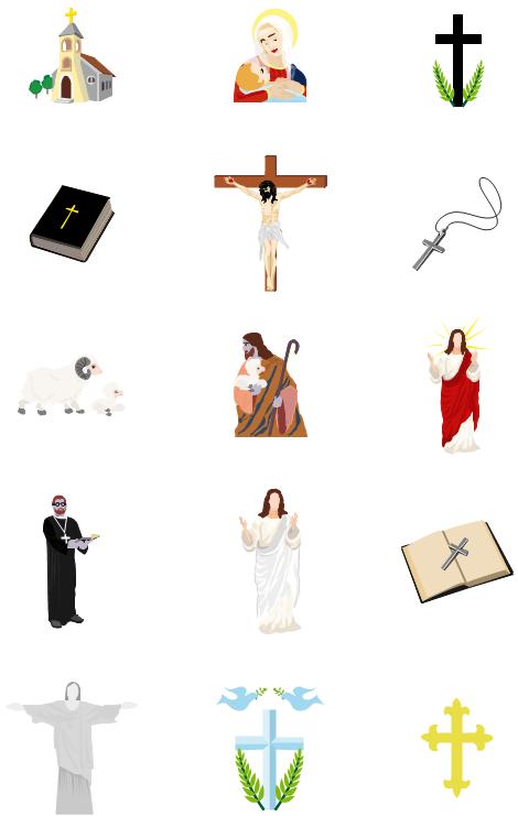 Religion clip art including church, bible, cross, Jesus, Maria.