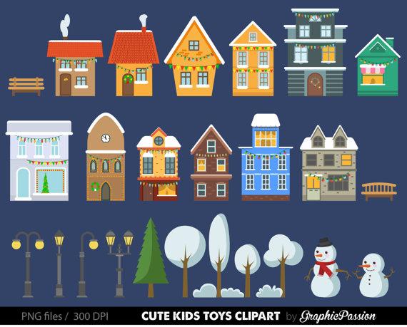 Christmas Houses Clip Art Set.