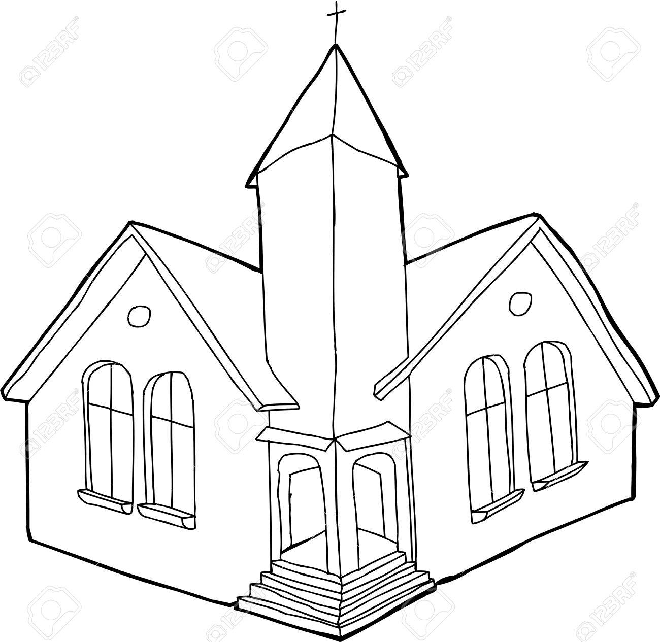 Single outline Christian church in white and black.