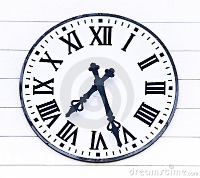 Old Analogue Church Clock Time Royalty Free Stock Images.