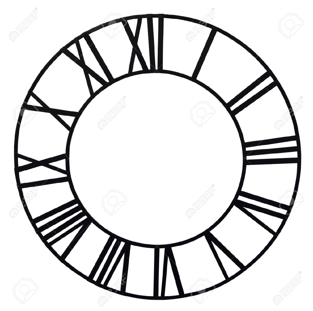 The Old Church Clock Dial Isolated On White Background Stock Photo.
