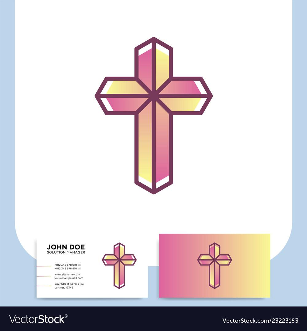 Modern church 3d cross logo christian symbol for.