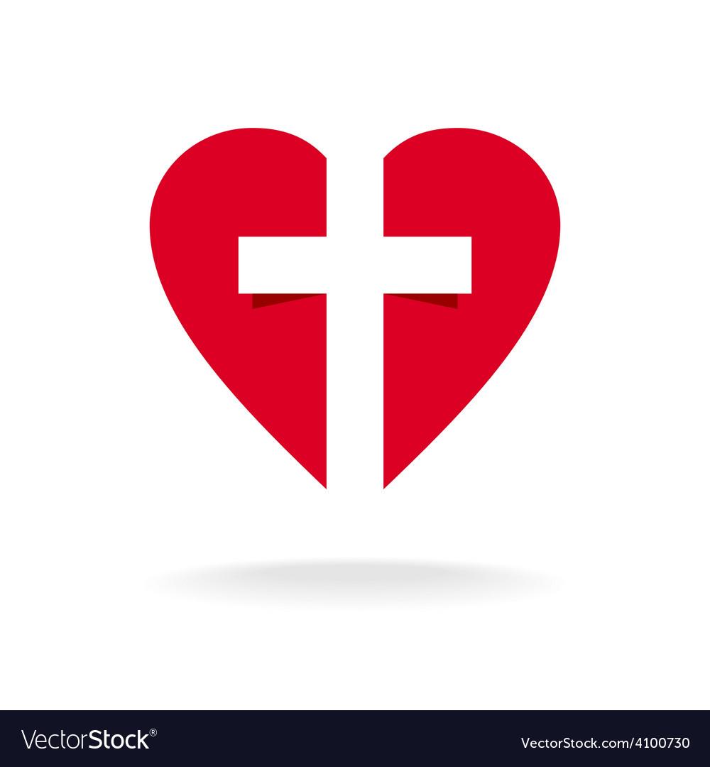 Heart with cross church logo template.