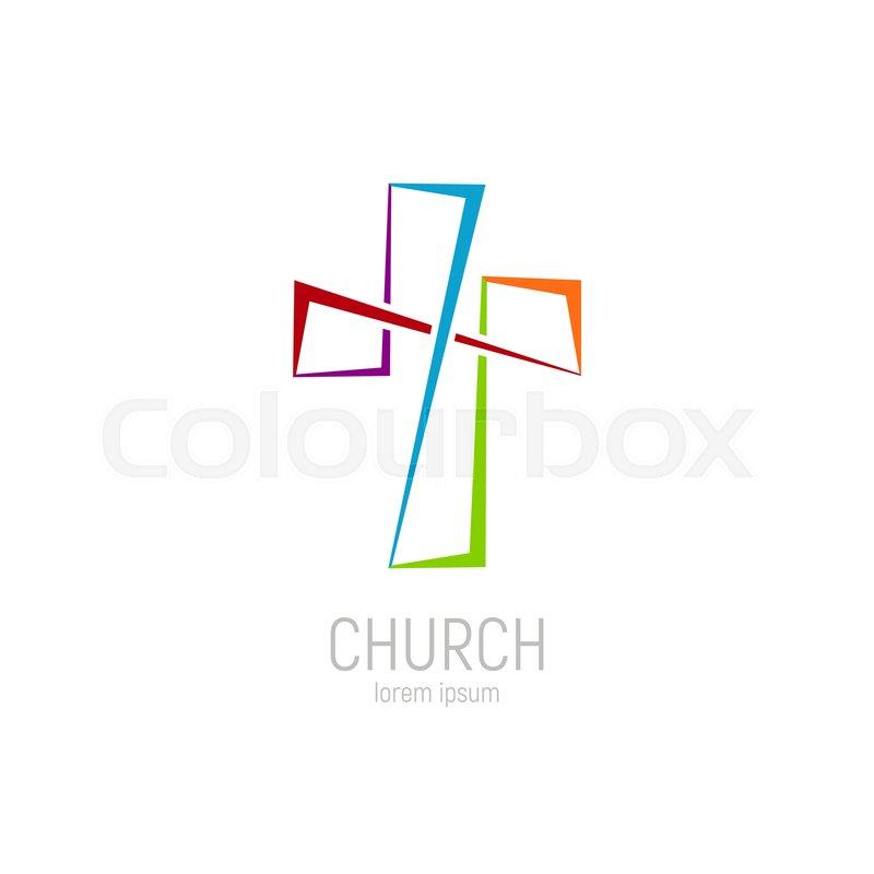 Abstract christian cross logo vector.