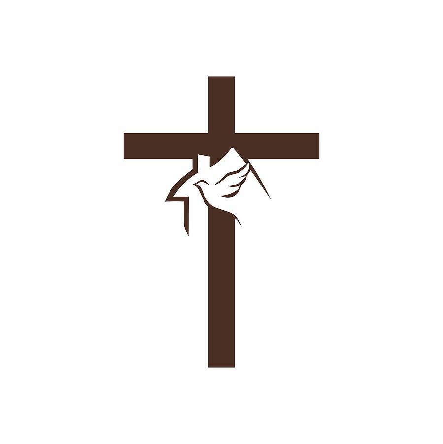 Church Logo. Cross, House And Dove Holy Spirit.