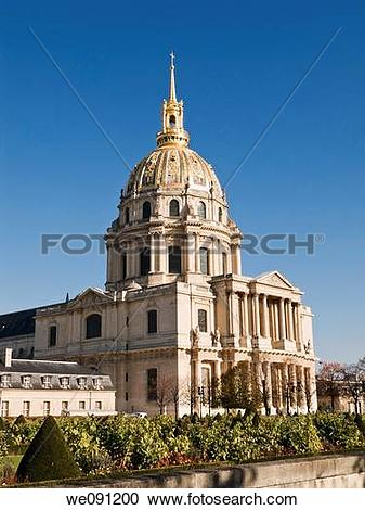 Stock Photography of Gilded church dome at Les Invalides, Paris.