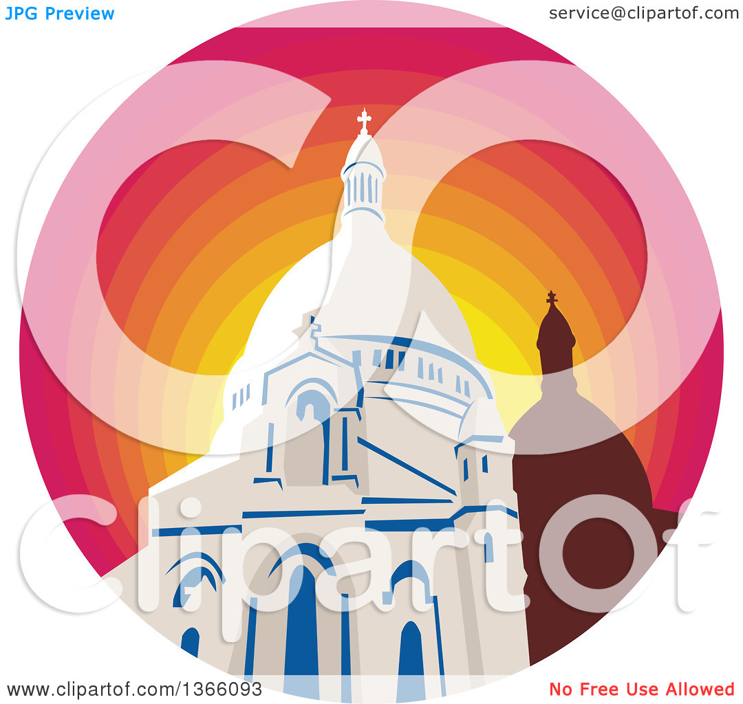 Clipart of a Retro WPA Style Catholic Church Dome Cathedral in a.