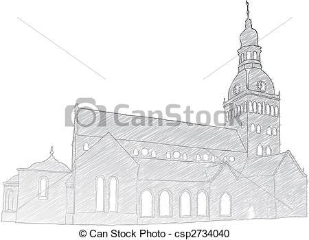 Vector Clipart of Riga Dome Church.