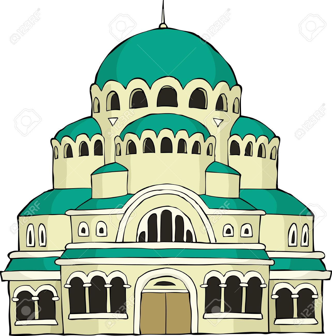 The Byzantine Church On A White Background Vector Illustration.