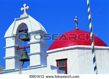 Stock Photo of Greece, Mykonos, church red dome and bell tower.
