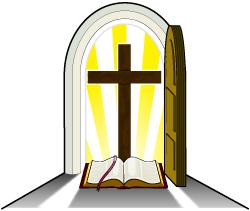 Open church doors clipart.