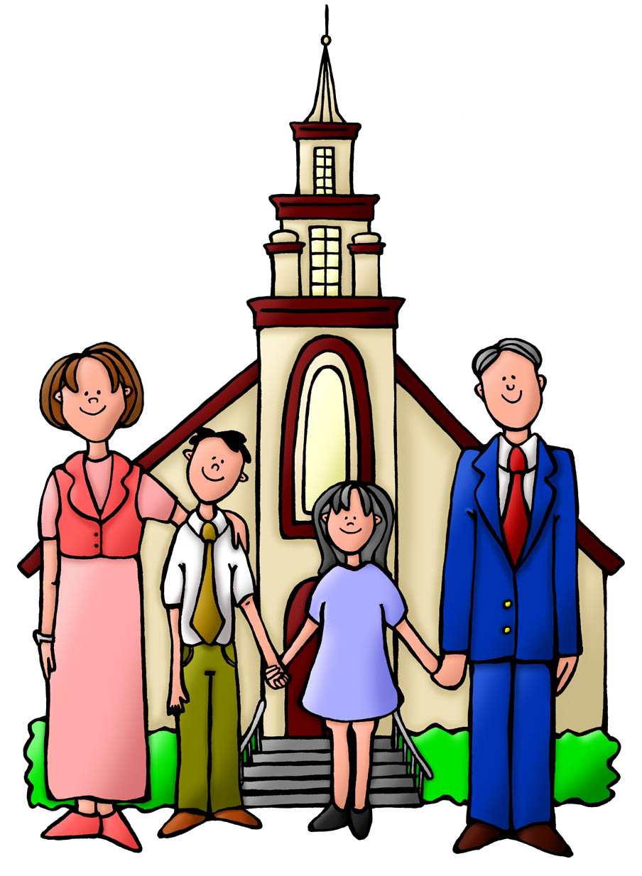 Family Going To Church Clipart.