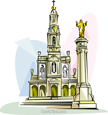 Sanctuary of Fatima Royalty Free Vector Clip Art illustration.