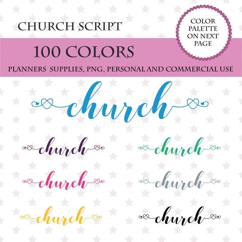 100 Colors Clip Art, 100 Church font clipart, Church sticker clipart,  Church for planner, Church script.