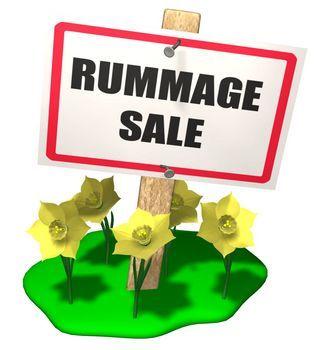 Rummage Sale sign.