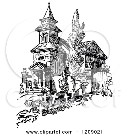 Clipart of a Vintage Black and White Old French Church and Graves.